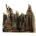 """Magnet New York """"Monuments"""" métal couleur cuivre"""
