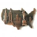 """Magnet New York """"USA"""" métal couleur cuivre"""