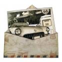 """Magnet Route 66 """"Enveloppe"""" bois en relief"""
