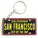 """Porte Clé San Francisco """"Plaque Immatriculation"""" plastique noir"""