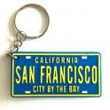 "Porte Clé San Francisco ""Plaque Immatriculation"" plastique bleu"