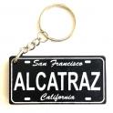 """Porte Clé Alcatraz """"Plaque Immatriculation"""" plastique noir et blanc"""