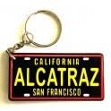 "Porte Clé Alcatraz ""Plaque Immatriculation"" plastique noir et jaune"