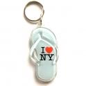 """Porte Clé New York """"Tong"""" plastique blanc"""