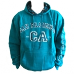 Sweat Shirt (Hoodie) à capuche San Francisco turquoise (carreaux)