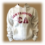Sweat Shirt (Hoodie) à capuche San Francisco blanc/rose (carreaux)