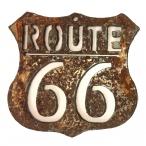 Plaque Métallique Rouillée Route 66