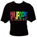 T-Shirt Californie noir écriture multicolore