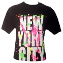 "T-Shirt New York City noir et ""tâches"" fluo"