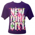 "T-Shirt New York City violet et ""tâches"" fluo"