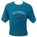 T-Shirt San Francisco turquoise brodé