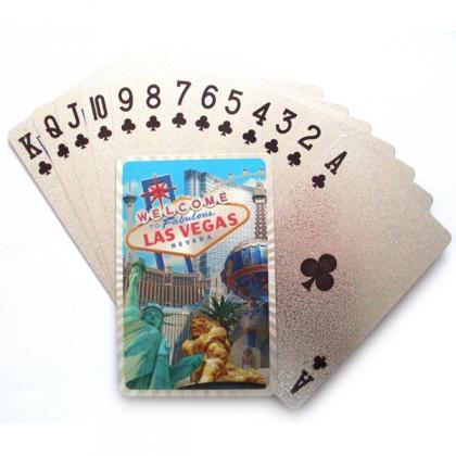 """Jeu de Cartes de Luxe Las Vegas """"Casinos"""" argent"""