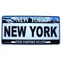"Plaque Métallique New York ""Plaque d'imatriculation"" blanche"