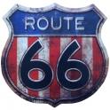 """Plaque Métallique Route 66 """"Logo"""" Drapeau US"""