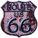 """Plaque Métallique Route 66 """"Logo"""" Rouille"""