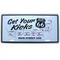 """Plaque Métallique Route 66 """"Get Your Kicks"""""""