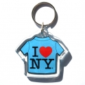 "Porte Clé New York ""T-Shirt"" I Love NY plastique bleu"