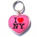 """Porte Clé New York """"Coeur"""" I Love NY plastique rose"""