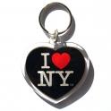 "Porte Clé New York ""Coeur"" I Love NY plastique noir"