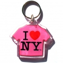 "Porte Clé New York ""T-Shirt"" I Love NY plastique rose"