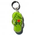 "Porte Clé New York Tong ""I Love NY"" plastique vert anis"