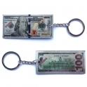 """Porte Clé """"Billet de $100"""" argent"""