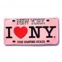"Magnet New York ""Plaque Immatriculation"" rose"