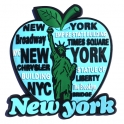 "Magnet New York ""Big Apple"" caoutchouc bleu ciel"