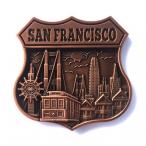 """Magnet San Francisco """"Route 66 Logo"""" Monuments cuivre"""