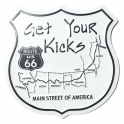 "Magnet Route 66 ""Get Your Kicks"" métal blanc"
