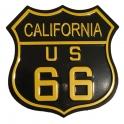 """Magnet Route 66 """"Logo"""" métal noir et jaune"""