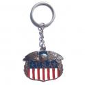 """Porte Clé """"USA"""" Eagle chromé"""