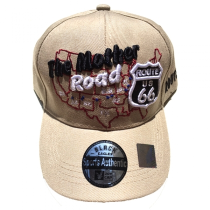 "Casquette Route 66 ""USA Map"" beige"