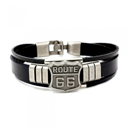 "Bracelet Route 66 ""Bikers"" Cuir"