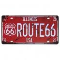 """Plaque Métallique Route 66 """"Illinois"""""""
