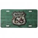 "Plaque Métallique Route 66 ""Logo"" verte"