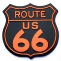 """Magnet Route 66 """"Logo"""" métal noir et orange"""