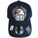 """Casquette Route 66 """"Aigle"""" bleu nuit"""