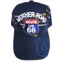 """Casquette Route 66 """"Mother Road Map"""" bleu nuit"""