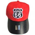 """Casquette Route 66 """"Visière cuir"""" rouge"""