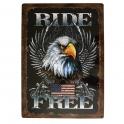 """Grande Plaque Métallique USA """"Ride Free"""" en relief"""