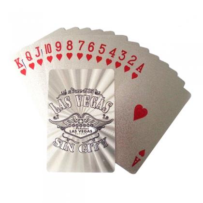 """Jeu de Cartes de Luxe Las Vegas """"Sin City"""" argent"""