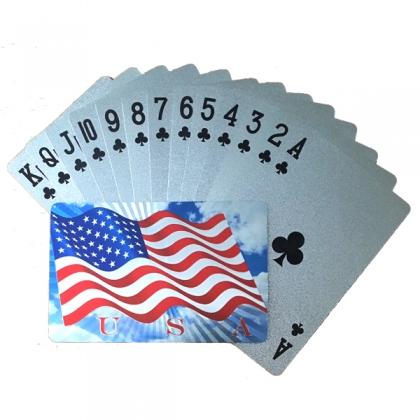 """Jeu de Cartes de luxe """"USA Flag"""" argent"""