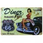 """Plaque Métallique Route 66 """"Diner"""""""