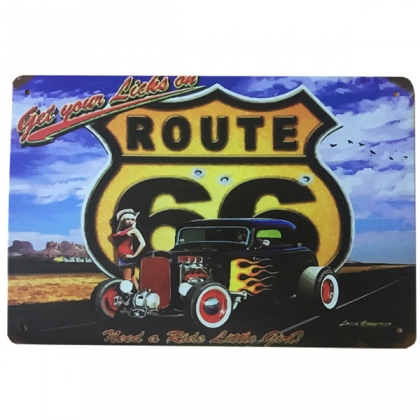"""Plaque Métallique Route 66 """"Hot Rod"""""""