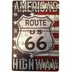 "Plaque Métallique Route 66 ""USA Flag 1"""