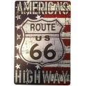 "Plaque Métallique Route 66 ""USA Flag 1"""