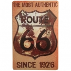 """Plaque Métallique Route 66 """"Logo Rouillé"""""""