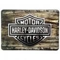 "Carte Postale Métallique Harley Davidson ""Wood"""