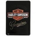 "Carte Postale Métallique Harley Davidson ""Genuine"""